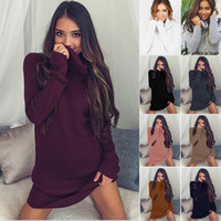 Wholesale Women S Top Dress Sweater - New Europe Fashion Women's Sweater Dress High Collar Solid Color Loose Tops Pullover Knitwears Lady's Knitted Dresses 9 Colors