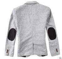 Wholesale Blaser Mens - Wholesale- Slim bleiser masculino Patchwork Designer One Button Fit Blazer Korean Mens Casual Suit Jacket Black Grey Blazers male blaser