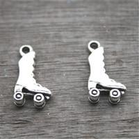 Wholesale Roller Skate Charms - 25pcs--Roller Skate Charms, Antique Tibetan Silver Tone Roller Skate charm pendant 21x12mm