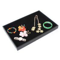 bandeja de exhibición de anillo de terciopelo negro al por mayor-Exhibición de la joyería Bandeja Plana en terciopelo negro para collar pendientes aretes caja de almacenamiento 4 unids / lote