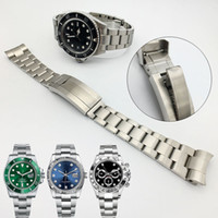 Wholesale watchband 21mm for sale - Group buy Watchband mm mm Watch Band Strap Stainless Steel Bracelet Curved End Silver Watch Accessories Man Watchstrap for Submariner Glidelock