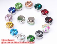 Wholesale Wholesale Diamond Shaped Beads - Free shipping 40pcs lot 10MM Rivoli Crystal Fancy Stone With Claw Setting Round Sewing Crystal beads DIY decoration