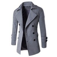 Wholesale Autumn Winter Warm Coat Casual Double breasted Long Wool Overcoat Fashion Turn Down Collar Male Outwear Plus Size