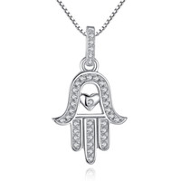 Wholesale Hamsa Heart Necklace - BELAWANG 925 Sterling Silver Lucky Hamsa Hand&Heart Pendants Necklace for Women 2017 New Fashion Long Necklace Wedding Jewelry Wholesale