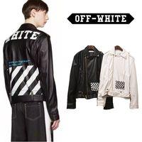 Wholesale Punk Rock Leather Jacket Men - Off White Jacket Men Women Punk Slim Fit Leather Kanye West Off White Virgil Abloh Rock Hip Hop Jackets Off White Jacket