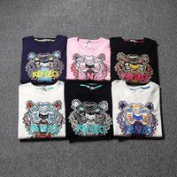 Wholesale Eyes Print Cotton - 2017 Hot European Brand men and women high quality printed eye and color embroidery tiger head sweater Free delivery
