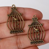 Wholesale-Fashion Sale 5pcs / bag 34 * 20mm Antique Bronze Plated Charms Birdcage Pingentes de liga de zinco encantos Jóias Findings para DIY