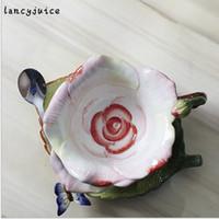 Wholesale Chinese Porcelain Mug - European Rose Mug China Coffee Tea Cup Saucer Set Gold-Rimmed Floral Ceramic Mug Gift Box Chinese Porcelain