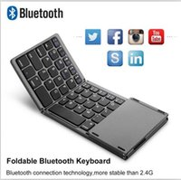 Wholesale bluetooth cell phone keyboards resale online - New protable bluetooth folding keyboard foldable Mini wireless touchpad keyboard for Ipad Tablet IOS Android winodws or other cell phone