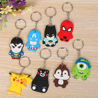 Wholesale Minion Pvc Key - PVC Soft Rubber 19 Models Cartoon Keychain Minions Skull Hello Kitty Key Ring Holder Key Chains Finder Souvenirs Gifts Item