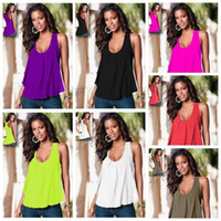 Wholesale Sexy Collared Vest - Woman Chiffon Tanks Solid Tops Fashion Shirt Summer Loose T Shirts Sexy Casual Tees Collar Slim Blouse Sleeveless Vest Women Clothing B1863