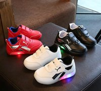 Wholesale Toddler Boys White Walking Shoes - 2017 New Fashion Children Shoes With Light Led Kids Shoes Luminous Glowing Sneakers Baby Toddler Boys Girls LED Shoes EU 21-30