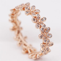Wholesale Stone Pandora - New Silver European Pandora Style Charm Jewelry Rose Gold Plated Dazzling Daisy Band Ring with Clear Cz for Women