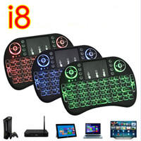 Wholesale Fly Mini Lights - Mini Rii I8 Fly Air Mouse Wireless Touchpad handheld keyboard Multi-Media Remote Control with backlight backlit Back Light For PC google tv