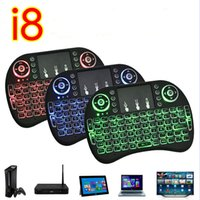 Mini Rii I8 Fly Air Mouse Wireless Touchpad tastiera palmare Multi-Media telecomando con retroilluminazione retroilluminato Luce posteriore per PC google tv