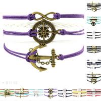 Wholesale Owl Key Jewelry - Infinity Love Compass Anchor Cross Key Mermaid Faith Owl Charm Bracelets For Women Men Leather Wrap Bracelet Jewelry