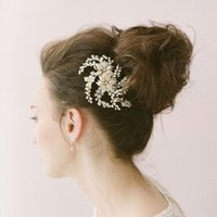 Wholesale Mini Flower Rhinestone - Sliver Gold Pearls Mini Top Hair Comb Wedding Party Hair Accessories 2 Colors Wedding Tiara For Bridal Wedding Party