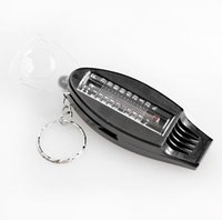 Wholesale 4 in1 Whistle Party Noise Maker Black Mini Survival Tool Magnifier Thermometer Compass Function