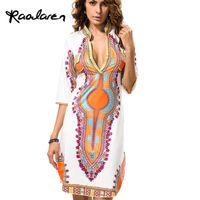 Wholesale plus size hippie clothing for sale - Group buy Raodaren Plus Size African Clothes Dashiki Dress for Women Casual Summer Hippie Print Dashiki Fabric Femme Boho Robe Femme
