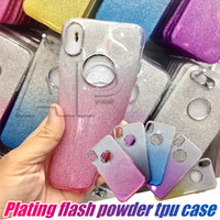Para Iphone X 10 8 7 Plus Caso Glitter Bling Shinning Soft TPU Gradient Color Silicone Cases com OPP Pack
