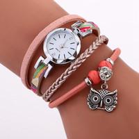 Wholesale Owl Watch Pendant Wholesale - silver dial fashion women leather rope owl face pendant diamond bracelet watch wholesale 2017 simple ladies dress quartz watches