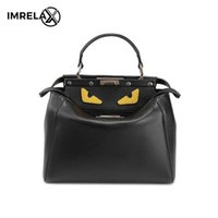 Wholesale Lather Shoulder Bags - 2017 New Korean Style Fashion Leather Bags 100% Genuine Lather Cross Body Bag Lady Shoulder Bag Cartoon Monster Bag