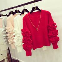 jersey de suéter dulce al por mayor-Al por mayor-2016 Lolita Sweet Prince Mohair Sweater Mujeres Ruffles manga Jersey Jersey Jumper Outfit Invierno Outwear