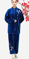 tai chi se adapta a las mujeres al por mayor-Corea del sur bordado de terciopelo tai chi trajes práctica ropa otoño e invierno bordado grueso flor de ciruelo hombres y mujeres oro terciopelo mart