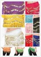 Wholesale belly dance costumes wholesale - 12 Colors 3 Rows 128 Coins Belly Egypt Dance Hip Skirt Scarf Wrap Belt Costume India dance waist belly dance costume