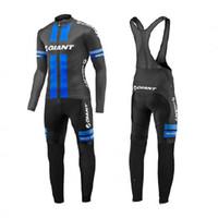 Wholesale pro long sleeve cycling jerseys resale online - Moxilyn Giants pro Racing Team Long Sleeve Cycling Jersey winter thermal fleece cycling cloth And Bib Pants Kit