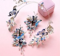 Wholesale Gemstone Europe Ship - 2017 new wholesale DG retro Baroque Europe Blue Butterfly Hair diamond crystal ornament with dress accessories set free shipping