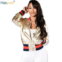 Wholesale leather baseball jacket women - Wholesale- HAOYUAN Autumn Winter Fashion Gold Leather Bomber Jacket Long Sleeve Stand Collar Outwear Female Coat Baseball Jacket Women 2017