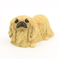 Pekingese Dog Statue - Mentira Puppy Hand Painted Gift Pet Lovers Yellow 6