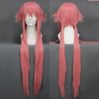 Wholesale Yuno Gasai Cosplay Wig - anime cosplay Free Shipping The Future Diary Yuno Gasai 80cm Long Pink Straight Anime Cosplay Wig Mirai Nikki Cheap Synthetic Hair Wigs