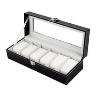 Wholesale Display Leatherette - PU Leather Watch Box - Classic 6 Grid Slots Watches Boxes Gift Case - Bracelet Jewelry Display Boxes Cases Storage Holder