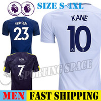 Wholesale jersey plus size shorts - HARRY KANE Soccer Jersey 2017 2018 ERIKSEN DELE LLORENTE LAMELA SON Men Short Sleeve Plus Size 4XL 17 18 Football Shirt Third Black Camiseta