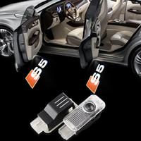 Wholesale hd audi - 2X LED Audi S5 Car Door Logo Light HD brightness 3D Ghost Shadow Courtesy Laser Projector Welcome Lamp bulb