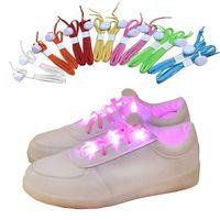 Wholesale Led Arm Light Band - LED Flashing Lighted Up Shoelaces Nylon Hip Hop Shoelaces Lighting Flash Light Up Sports Skating LED Shoe Laces Shoelaces Arm Leg Bands