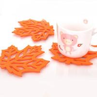 Wholesale Orange Coasters - Wholesale- 12*12cm Fashion Orange Maple Leaf Felt Cloth Cup Pad Mat Promotional Drink Coaster Bar Decoration 50pcs lot SH057
