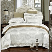 Wholesale Embroidered Satin Bedding Sets - Luxury Wedding White Embroidered Bedding set Satin Jacquard bedspread duvet cover sheets bed in a bag linen King Queen size 4PCS