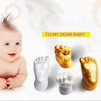Wholesale Baby Keepsake Wholesalers - DIY 3D Keepsakes Baby Casting Kit Handprint Cloning Footprint Plaster Cast Baby Handprint Footprint Casting Kit KKA2670