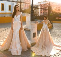 Wholesale Lace Sheath Wedding Dress Luxury - Middle East Wedding Dresses Mermaid Bridal Dresses Trailing Sexy Lace Applique Berta Bridal Wedding Gowns Luxury Dress Detachable