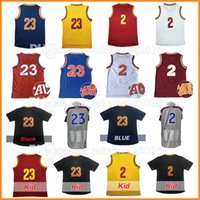 Wholesale Love Jerseys - Men's 23 LeBron 2 Kyrie Irving James Basketball Jerseys Stitched 2017 All star Christmas Kevin Love Throwback Jersey Sleeve Tshirt Youth Kid
