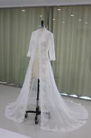 Wholesale Photo Coating - Elegant Long Capes Wedding Coat Accessories Appliques 3 4 Long Sleeve Court Train Bolero Mariage Real Photos Custom Made EN10185