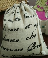 Wholesale Wholesale Flax Linen Fabric - English cotton flax linen bag small letters jewelry bag Wenwan beads pocket Drawstring Bags Bags