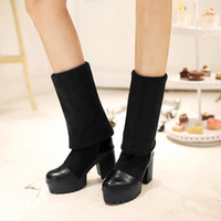 Wholesale Synthetic Suede Platform Heel - Wholesale- Women Fold Faux Suede Over the Knee Boots Winter Round Toe High Thick Heel Platform Boots