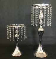 Wholesale Crystal Rhinestone Vases - Rhinestone Candelabra for Wedding Party Elegant Candle Holder Pretty Table Centerpiece Vase Stand Crystal Candlestick Wedding Decoration