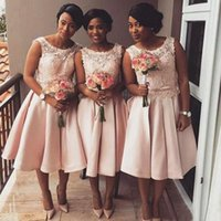 Wholesale Cheap Tea Length Bridesmaid Dressed - Cheap Blush Pink Lace Short Bridesmaid Dresses 2017 African Beach Maid of Honor Gowns Junior Formal Wedding Guest Formal Wear Tea Length