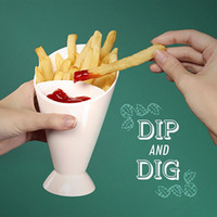 Wholesale Plastic Dip Tools - French Fries With Dipping Cup Vegetable Salad Glass Self Stand Cone Shape Tableware Home Kitchen Tool Potato Holder Cups 4 9tt F R