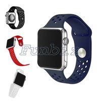 Wholesale Wholesale Nice Watches - Sport Silicone band strap for apple watch Nice bracelet wrist band Holes watch watchband For Apple Watches Series 1 Series 2 42mm 38mm